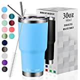 30oz Vacuum Insulated Tumbler Double Wall Coffee Cup by Umite Chef, Stainless Steel Travel Mug with Lid, 2 Straws, Brush & Gift Box(30oz, Blue)