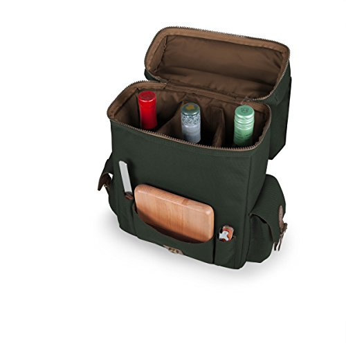 LEGACY - a Picnic Time Brand Moreno Insulated 3-Bottle Wine Tote with Wine and Cheese Accessories, Khaki Green