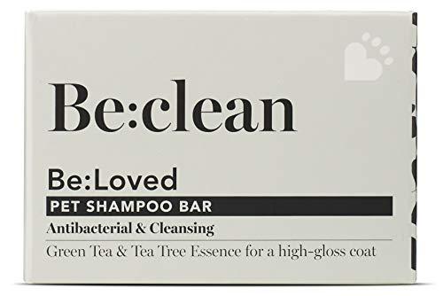 Be:clean Barra de champú natural para perros, antibacteriano y limpieza, ingredientes naturales, esencia de árbol de té y té hecha a mano en el Reino Unido, barra de jabón de 110 g