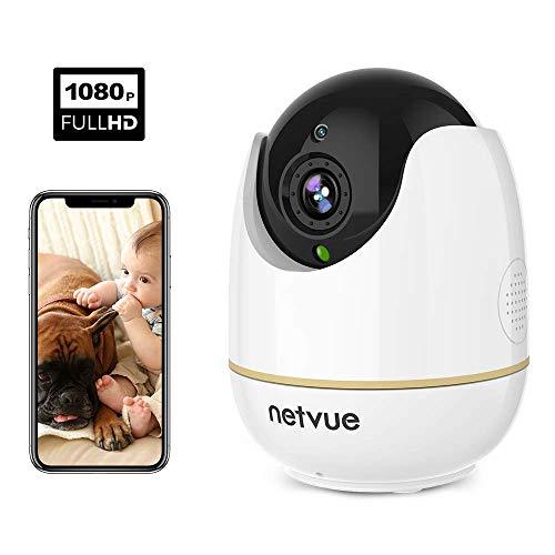 Netvue Full HD 1080P Telecamera wi-fi Interno, Videocamera Sorveglianza Compatibile con Alexa, Webcam Wifi per Bambini con Visione Notturna, Audio Bidirezionale, Rilevamento di Umano Movimento