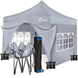 SUNMER 3x3M Pop-Up Gazebo with 4 Sides - Fully Waterproof with Heavy Duty Steel Frame - Wheeled Bag Included for Easy Transportation - Grey