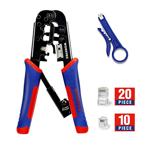 WORKPRO Crimping Tool Kit Ratcheting Crimper Set with Mini Wire Stripper for 8P/RJ45 6P/RJ11 Insulated Terminals 30-Piece Connectors Included
