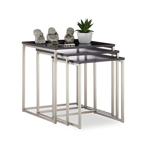 Relaxdays, schwarz/Silber Beistelltisch quadratisch 3er Set, Mattes Stahlgestell, Satztische, MDF, HxBxT: 42x40x40 cm