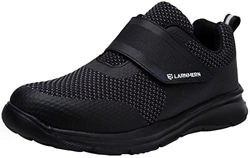 LARNMERN Zapatillas de Seguridad Hombre Mujer Comodo Ligeros Zapatos de Trabajo Punta de Acero Transpirable Calzado Seguridad Deportivo Antideslizante Anti-pinchazo Zapatos Seguridad(41 EU,Nero)