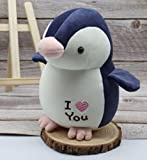 HNZYAMZDS 23cm Muñeco de pingüino Encantador Juguetes de Peluche Suaves Te Amo Corazón Amoroso Juguetes Regalo de cumpleaños romántico Decoración de la habitación Juguetes Lindo Relleno Deepblue