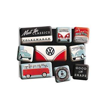 Nostalgic Art Retro-Style Fridge Magnets, VW Meet The Classics – Gift idea for Volkswagen fans, Magnet set for notice board, vintage design, 9 pieces