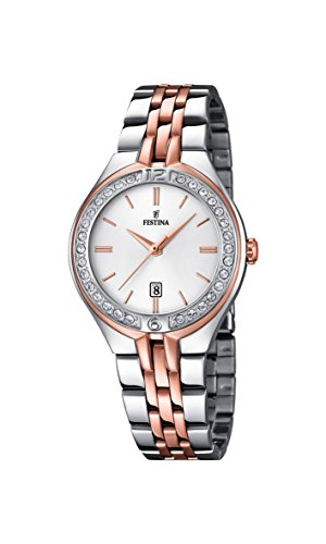 Festina F16868/2, orologio al quarzo da donna, con quadrante bianco analogico e cinturino in acciaio...