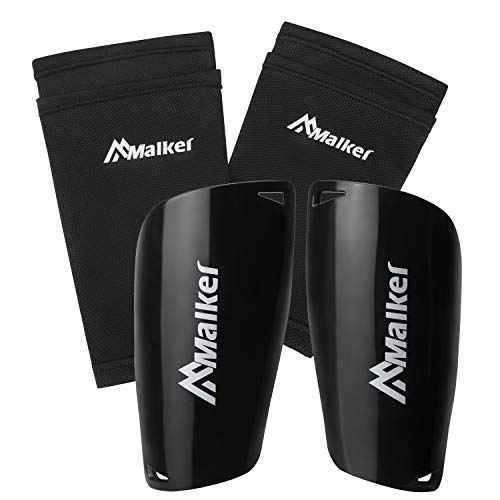 Malker Soccer Shin Guards for Kids Youth Adults Shin Guards Pads with Lower Leg Sleeves, Lightweight and Compact, Protective Soccer Equipment (Black S)