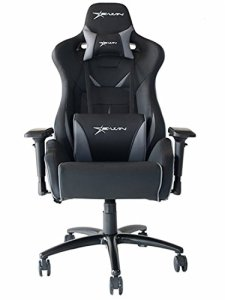 E-WIN Big and Tall 450lb Gaming Chair - Adjustable Tilt, Back Angle and 4D Armrests Ergonomic High-Back Leather Racing Executive Computer Desk Office Chair Metal Base, Black Grey