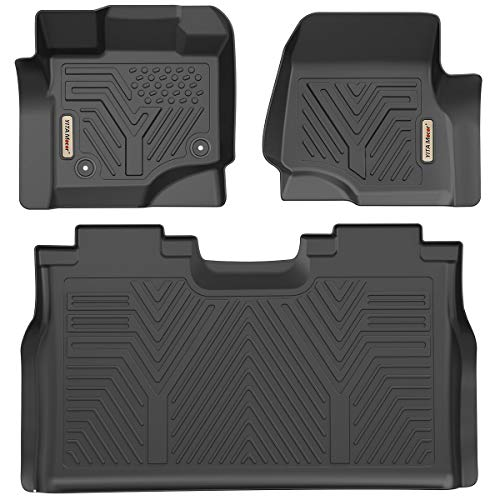 YITAMOTOR Floor Mats Compatible with F150, Custom Fit Floor Liners for 2015-2020 Ford F-150 SuperCrew Cab, 1st & 2nd Row All Weather Protection