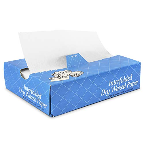 [500 Pack] Interfolded Food and Deli Dry Wrap Wax Paper Sheets with Dispenser Box, 10 x 10.75 Inch