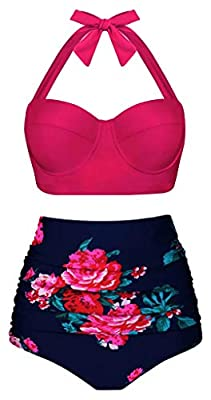Bikini Swimsuit Material: Imported Nylon/Spandex. Bikini Top:Removable soft padding.The bandeau part of the suit under the top layers. Design:Floral,Polka Dot,Vintage Pin Up High Waisted Two Piece Swimsuits Cups with underwire and non removable paddi...