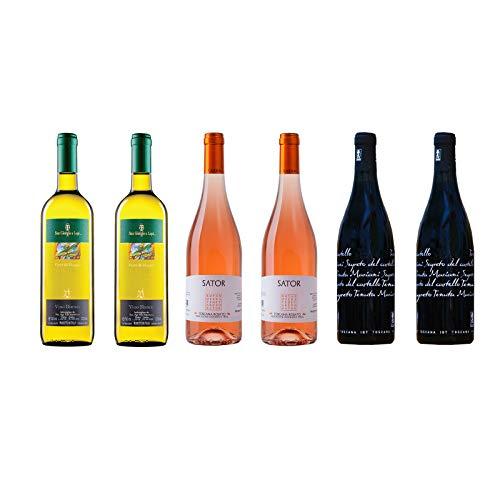 Box Degustazione Vini Toscana - Bianco Rosato e Rosso - 6 Bottiglie 0,75 L - Idea Regalo - 3 Cantine