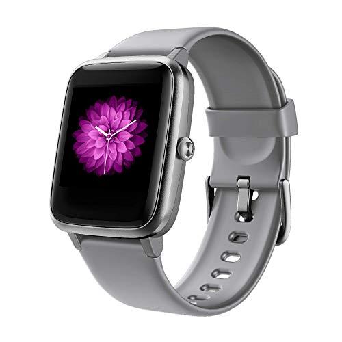 GRDE Smartwatch Damen Smartwatch Bluetooth 1.3 Zoll Voll Touchscreen Fitness Armband Sportuhr 5ATM Wasserdicht Fitness Tracker mit Pulsuhr Schrittzähler Musiksteuerung Stoppuhr Anruf SNS Smart Watch, Rosa