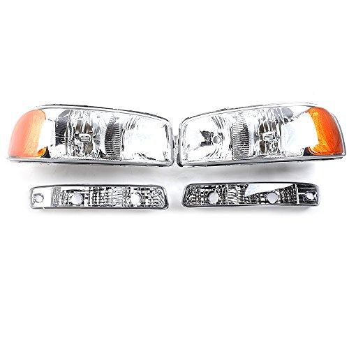 MILLION PARTS 2PC Front Left Right Car Headlights Replacement Headlamps Chrome Housing & 2PC Signal Corner Parking Bumper Lights fit for 1999 2000 2001 2002 2003 2004 2005 2006 2007 GMC