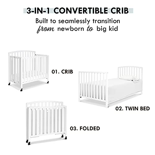 Product Image 6: DaVinci Dylan Folding Portable 3-in-1 Mini Crib and Twin Bed in White, Greenguard Gold Certified