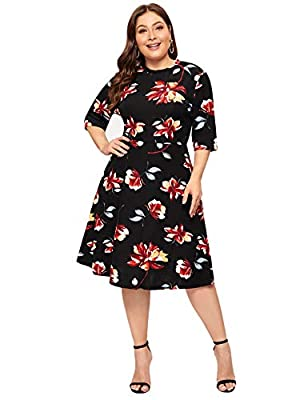 Stretchy fabric, comfy and soft Half Sleeve, Round Neck, Flower Print Zipper back for Easy On and Off, High Waist Occasion: Casual Outtings, Business, Street wear,and Daily wear Please refer to the size measurement below