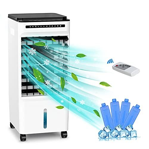 Raffreddatore d'aria, Portatile Refrigeratore D'aria Umidificatore Purificatore con 3 Velocit 2 Serbatoio dell'acqua di grande capacit, 7H Timer, Basso Rumore per Casa e Ufficio
