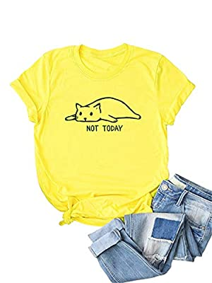 Crafted from stretchy fabric, comfortable to wear. Please refer to the size measurement picture before ordering ,You can choose it large one size than your normal size. Features:Cartoon cat and letters print, unique and lovely.Round neck and short sl...