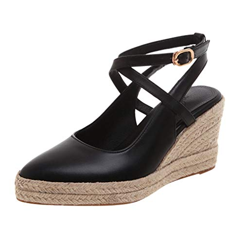 Luckycat Sandalias con Plataforma para Mujer Sandalias Mujer Cuña, Verano Plataforma Punta Cerradas Bohemias Zapatos De Tacón Alto Alpargatas De Playa Fiesta