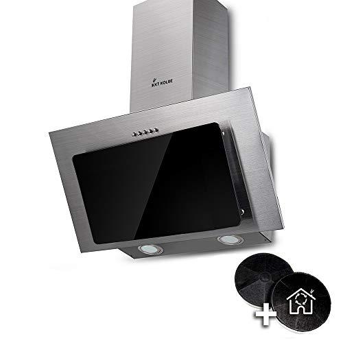 Cappa aspirante da cucina (60 cm, acciaio inox, vetro nero, illuminazione a LED, 3 livelli,...