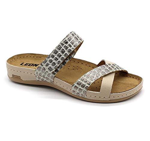 LEON 957 Sandalias Zuecos Zapatos Zapatillas de Cuero para Mujer, Beige, EU 40