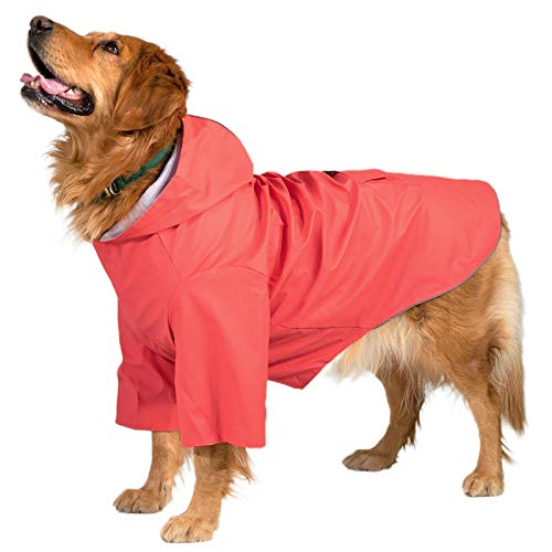 KingCamp Dog Raincoats for Large Dogs Waterproof Rain Jacket with Hood for Medium and Large Dogs, Lightweight Hoodies Pet Windproof Raincoat for Outdoor Walking Red XXX-Large Dog Raincoats