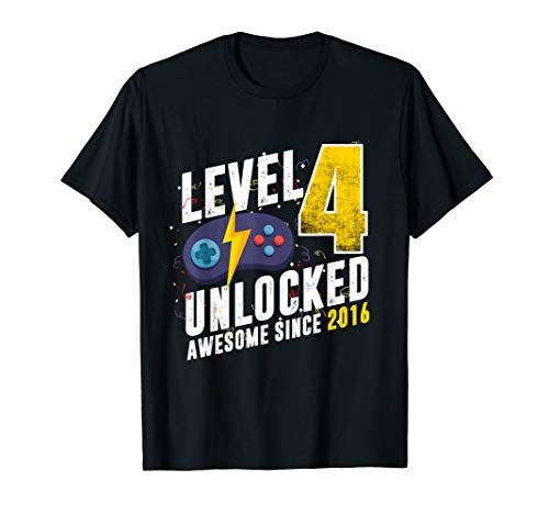 Level 4 Unlocked Awesome Since 2016 Video Game 4th Birthday T-Shirt