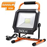 TACKLIFE 5000LM 50W Work Light with LED Head, Adjustable Stainless Metal Stand and IP65 Waterproof,Portable Flood Light for Outdoor Work,Camping,Workshop