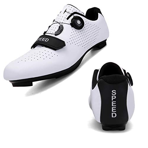SEYMEZLIWE Men's Cycling Shoes Women's Road Bike Shoes Compatible with SPD/SPD-SL Cleats for Women Indoor Exercise Cycling Shoes Men Mountain Biking Shoes White