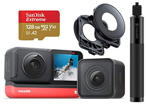 Insta360 ONE R ツイン版 スターターキット(ONE R コア+360度モジュール+4K広角モジュール)、360度レンズガード、自撮り棒70cm、SDカード)【国内正規品】 (SD 128GB)