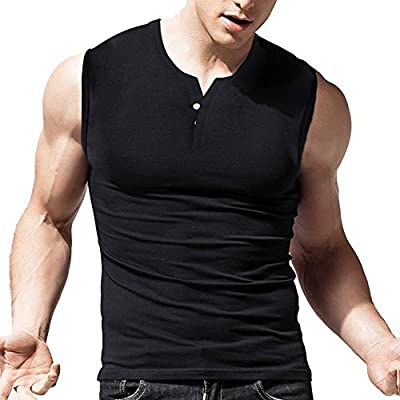 Henleys Tank shirts made of super soft and stretchy cotton, the style of two button placket beneath the neckline, tagless label for extra comfortable. Muscle slim fitted casual henley shirts, sleeveless. Appropriate for workout,bodybuilding,causal we...