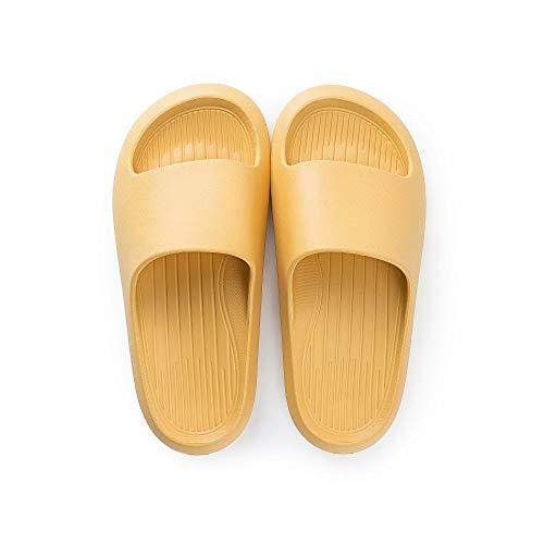posee Comodas Chanclas Mujer EVA Ducha Playa y Piscina Slide Zapatilla De Baño Zapatos De Piscina Sandalias De Interior Sandalias Suaves Zapatillas Para El Baño FBA-Amarillo EU 37