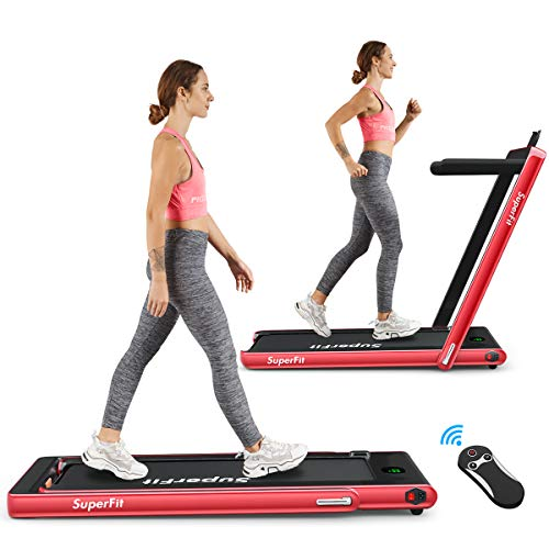 COSTWAY 2 in 1 Folding Treadmill, Under Desk Motorized Treadmill with Remote Control, Bluetooth Speaker and LED Display, Installation-Free Jogging Walking Machine Speed up to 12km/h (Red)