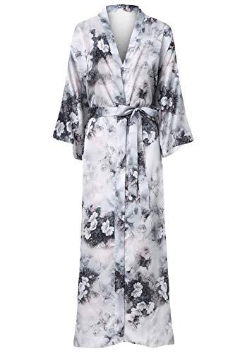 ArtiDeco Damen Morgenmantel Maxi Lang Seide Satin Kimono Kleid Blüten Muster Kimono Bademantel Damen Lange Robe Blumen Schlafmantel Girl Pajama Party 135 cm Lang (Blumen)