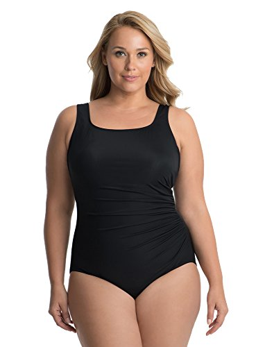 41FWC25jEDL Look 10 lbs. lighter in 10 seconds® with Miraclesuit. Our exclusive Miratex® fabric slims and slenderizes without panels or linings for total full body shaping and control. Square neckline with underwire bra accentuates your bustline but won't ever reveal too much. Shirring in your midsection is so sexy and slimming, making you instantly look up to one size smaller. Scoop back shows off a little bit of skin. Solid straps stay firmly in place no matter what. This style is perfect for fuller bust sizes, giving you the support you crave and helping create an hourglass shape.