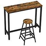IRONCK 2-Piece Pub Bar Table Set, (47.2''L 15.7' W 39.4' H) Industrial High Top Table with Bar Stool Chair, MDF Board and Metal, Vintage Brown