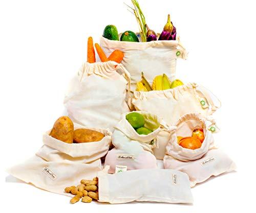 Sacs de Stockage de Légumes - Sacs en Coton - Sac à Provisions - Sacs de Coton Bio - Sacs Réutilisables à Fruits et Légumes - Mousseline Produire des Sacs Set de 6 (2 Grands, 2 Moyens, 2 Petits)