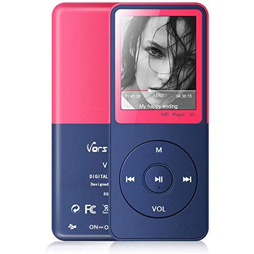 Lecteur MP3, Vorstik HiFi Lecteur de Musique Numérique 1.8 TFT Écran 8Go Supporte Carte SD 64Go, Radio FM, Enregistreur Vocal, Lecteur ebook