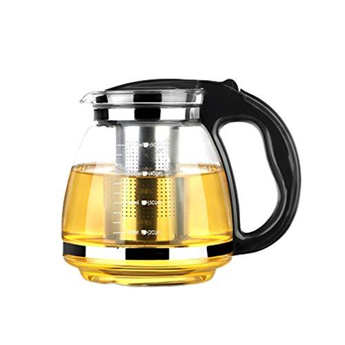 OUNONA Glas-Teekanne Edelstahl Filtergriff hitzebest?ndig 2000 ml (schwarz) (A-Schwarz)