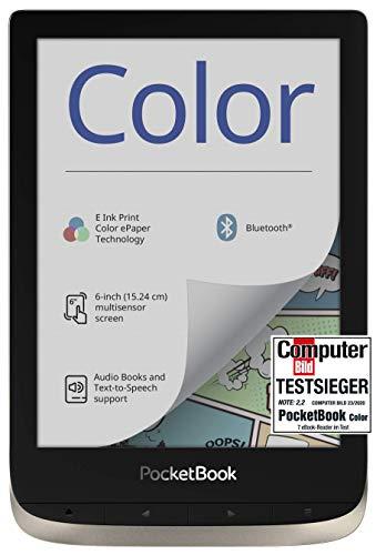 "PocketBook E-Ink Kaleido - Lector de Libros electrónicos (16 GB de Memoria, Pantalla a Color de 6"", iluminación Frontal, Wi-Fi, Bluetooth), Color Plateado"