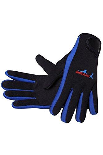 Cokar Neopren Handschuhe 1.5MM Neoprenhandschuhe Tauchen Schnorcheln Elastische Warm Verstellbarer - L,Blau