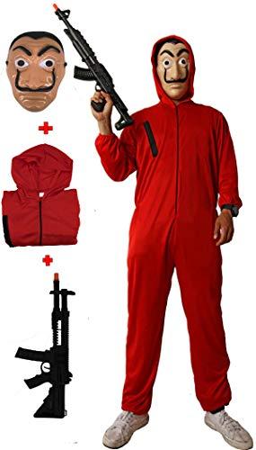 Gojoy shop- Disfraz, Máscara y Pistola de Casa de Papel Ladrón para Niños y Niñas Carnaval, Halloween (Contiene Máscara y Pistola, Mono con Capucha, 3 Tallas Diferentes) (10-12 AÑOS)