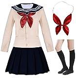 Elibelle Japanese School Girls Short Sleeve Uniform Sailor Navy Blue Pleated Skirt Anime Cosplay Costumes Sweater with Socks setM(Tag L)