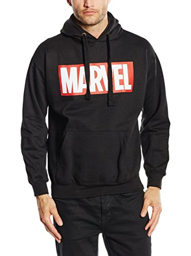 Marvel Comics Core Logo P/o Hood, Cappuccio Uomo, Black, Medium