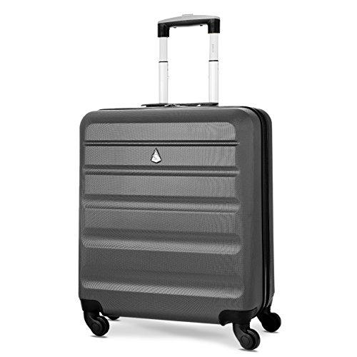 Aerolite 56x45x25 easyJet / British Airways / Jet2 Höchstbetrag 4-Rad Handgepäck Leichtgewicht Hartschale Bordgepäck Kabinentrolley Reisekoffer Trolley Koffer (Kohlegrau)
