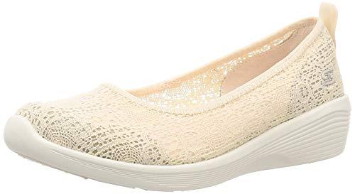 Skechers Arya-Airy Days, Bailarinas con Punta Cerrada Mujer, Beige Natural Crochet Off White Trim Nat, 38.5 EU