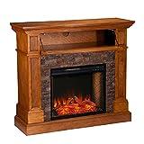 SEI Furniture Rosedale Durango Faux Stone Alexa-Enabled Electric Hidden Media Shelf Corner Fireplace, Sienna