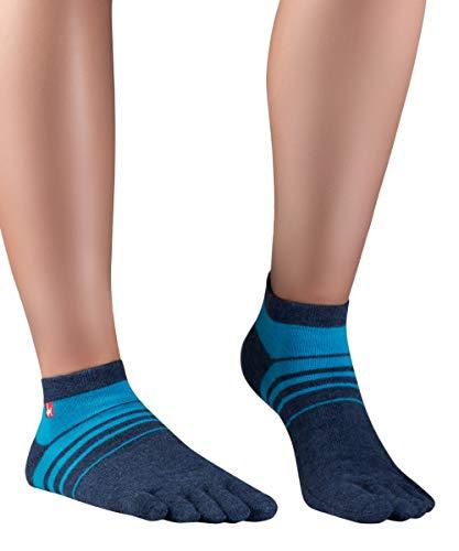 Knitido Track&Trail Spins Sneaker Socken Herren, Zehensocken für Sport und Zehenschuhe, Größe:39-42, Farbe:Navy/Cyan