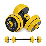 Nice C Adjustable Dumbbell Barbell Weight Pair, Free Weights 2-in-1 Set, Non-Slip Neoprene Hand, All-Purpose, Home, Gym, Office (Barbell 33LB or 18.2 LB Dumbbell Pair)